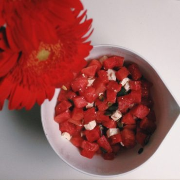 A light salad recipe with watermelon, perfect for a summer night. Click through to read more, or repin to save for later!