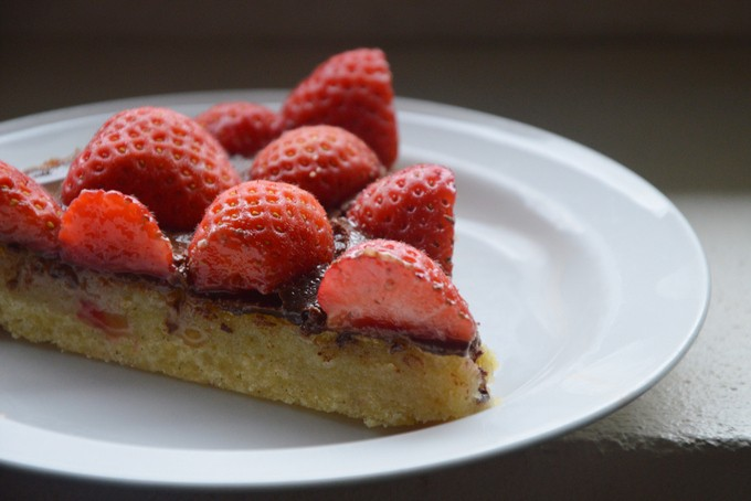 Close up of a slice of strawberry tart