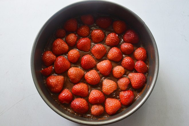 decorated strawberry tart, ready to be cooled