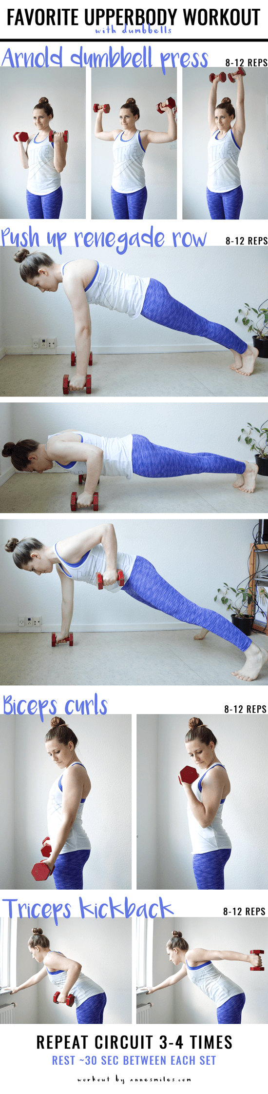 Favorite upper-body workout || This is a workout with some of my favorite dumbbell exercises, and it can easily be done at home. Click through to read more, or repin to save for later!