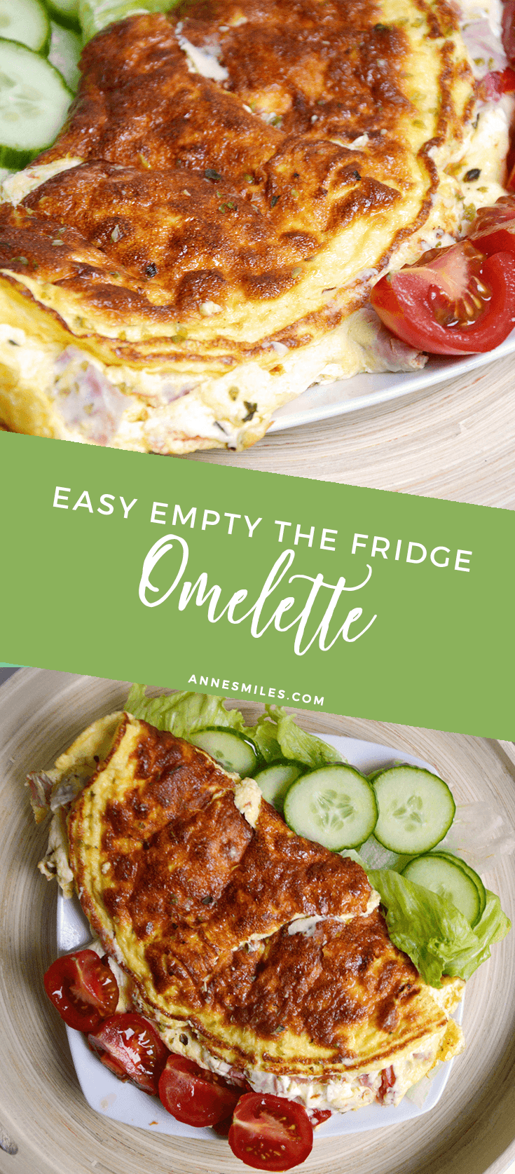 Eggs are amazing, and this omelettes are amazing when you have a bunch of leftovers in your fridge that needs to be used. Here's my easy 'empty the fridge' dinner. Click through to read more, or repin to save for later!