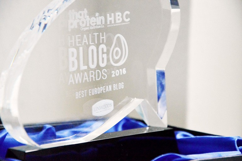That Protein x Health Bloggers Community Health blog awards - best European blog winner trophy