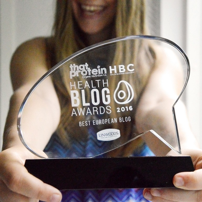 That Protein x Health Bloggers Community Health blog awards - Anne holding the best European blog winner trophy