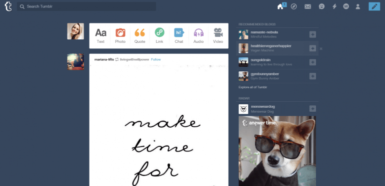 Tumblr dashboard screenshot