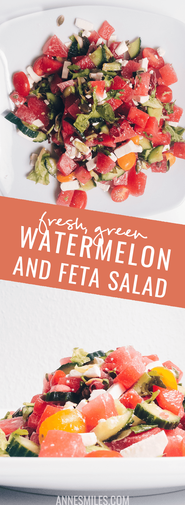 This fresh, green, salad is perfect for a light dinner, so tasty! #watermelon #recipes #healthyrecipe #salad