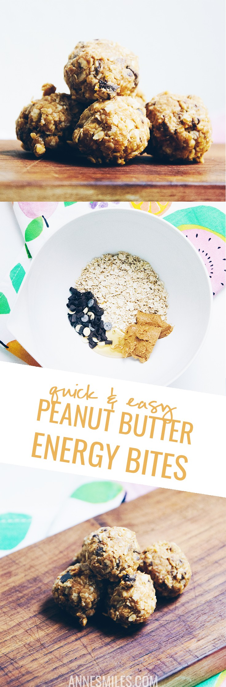 These no-bake energy bites take no more than a few minutes to create and are a great snack for when you're busy and need to eat on the go
