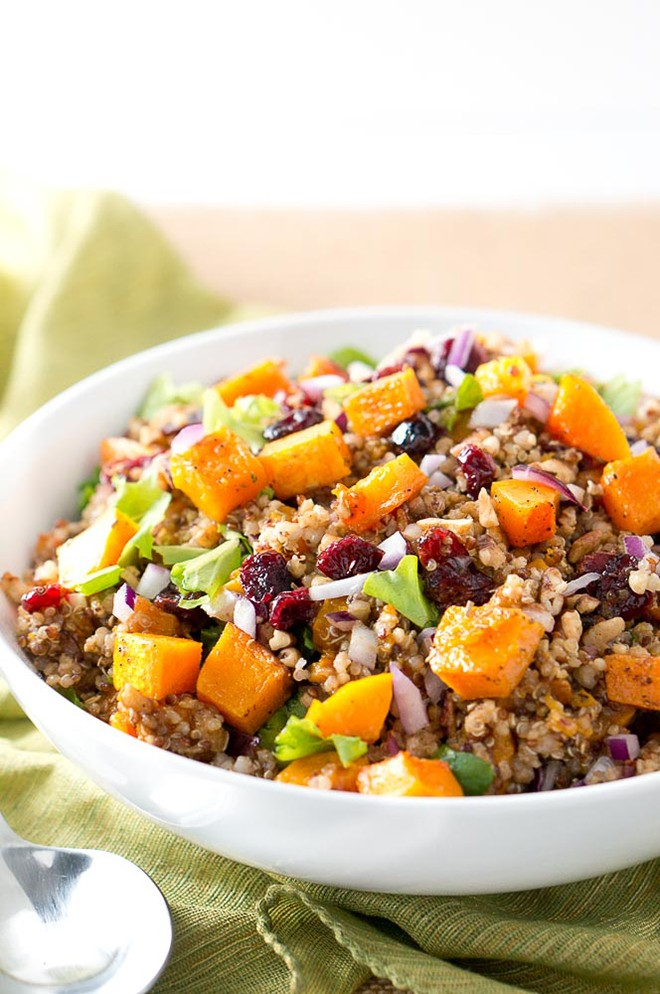 You can add quinoa to your salad with this harvest butternut squash quinoa salad. - deliciousmeetshealthy.jpg