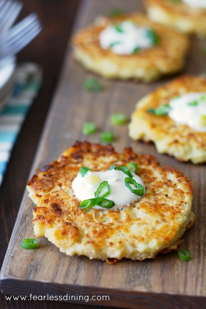 These gluten free cauliflower cheddar pancakes make a wonderful appetiser, side dish, or vegetarian meal.