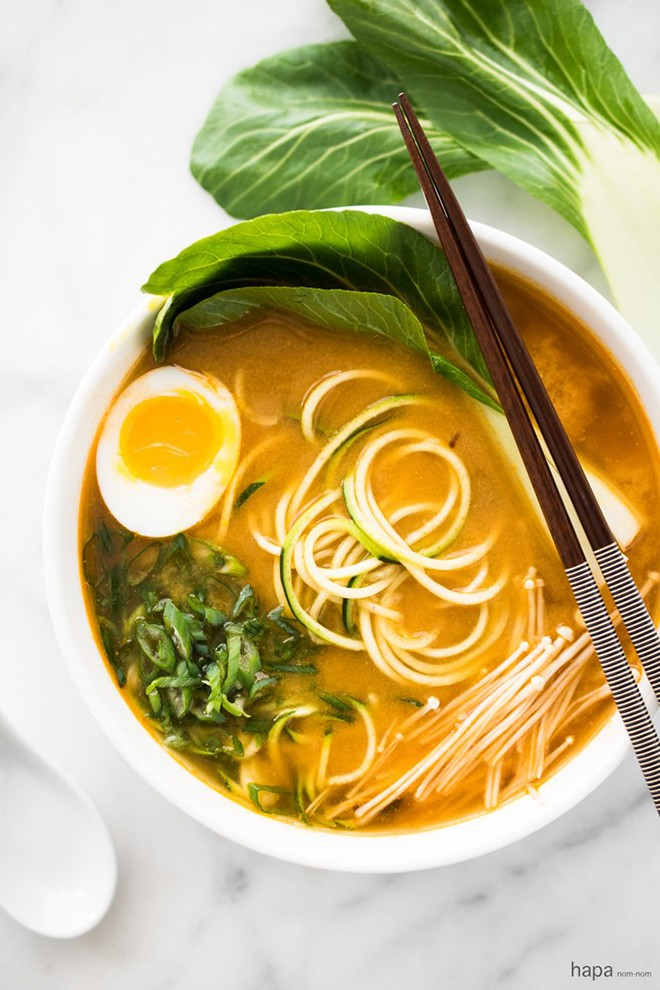This spicy miso zucchini ramen noodle soup makes the taste buds sing. hapanom.jpg