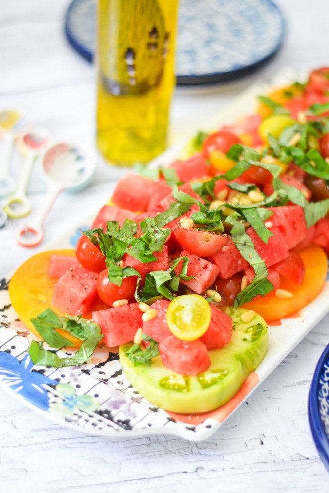 Summer and watermelon go hand in hand, and I look forward to making this tomato, watermelon and basil salad.