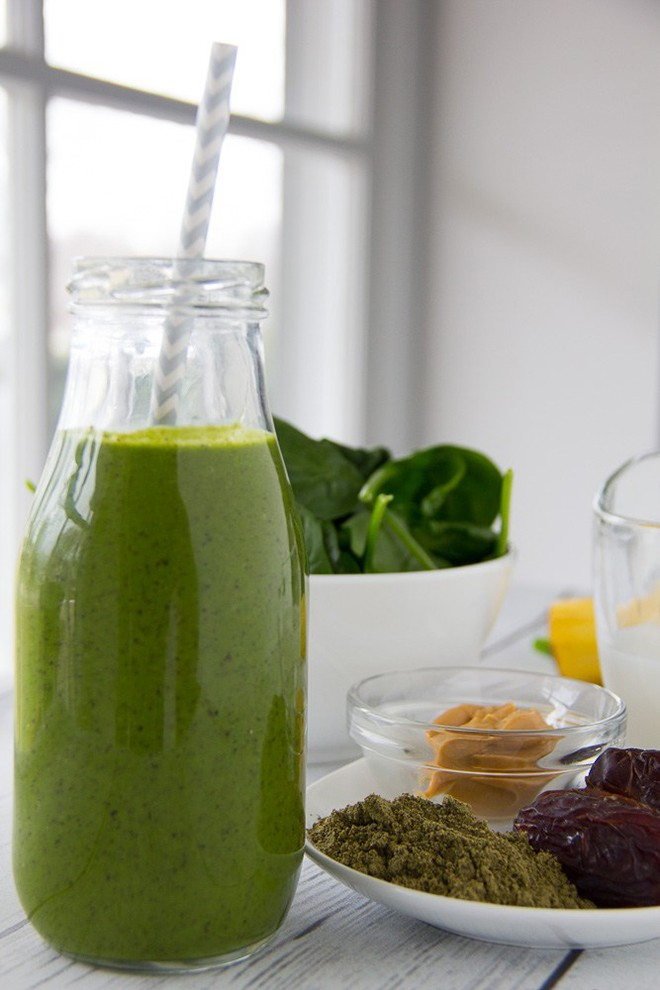 Or jump start your day with this green smoothie blend of spinach, celery, dates, banana, almond butter, hemp protein and rice milk!