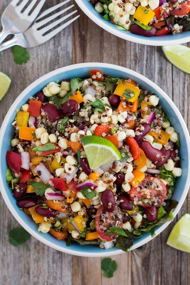 This summer corn and quinoa veggie salad is a fresh, nutritious and light summertime meal.