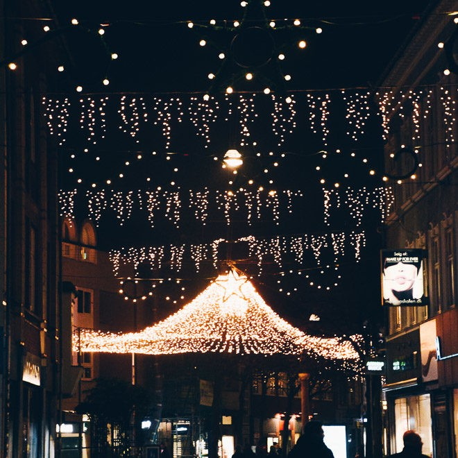 Odense downtown with Christmas lights.