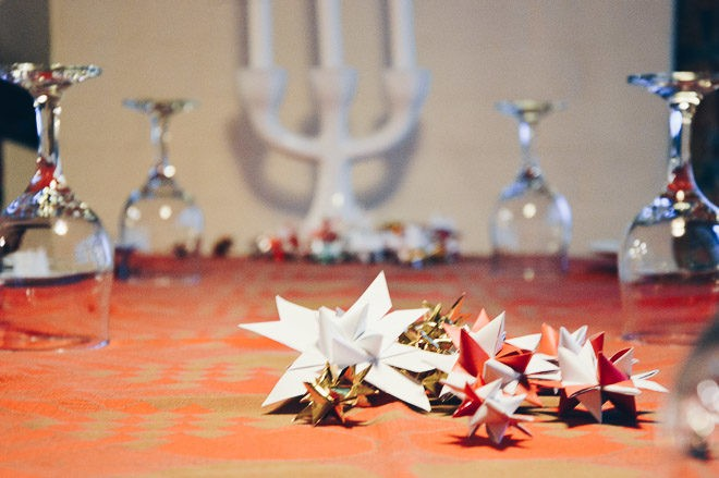 Christmas table set with decorations