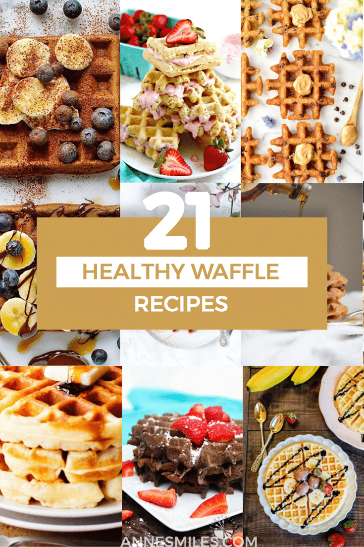Waking up to a stack of fresh waffles is the best way to start the day. Here are 21 healthy, delicious recipes for everything from sweet to savory, bacon-topped to vegan - there\'s a waffle for everyone! #healthyrecipe #waffles #healthybreakfast