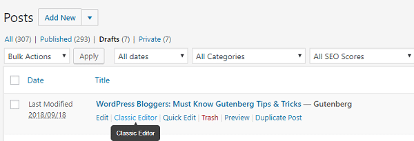 Gutenberg - edit posts in the classic editor