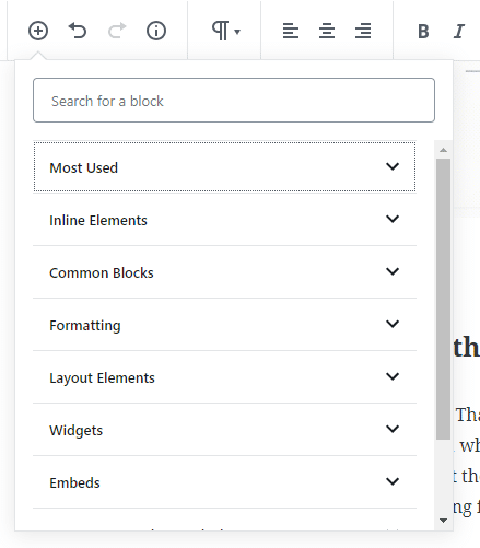 Gutenberg block library overview categories | WordPress Bloggers: Must Know Gutenberg Tips & Tricks