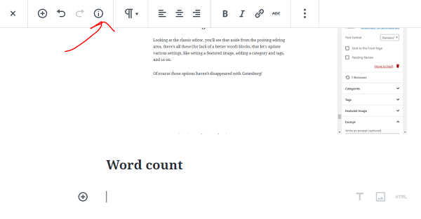 Post or document information and details - word count etc