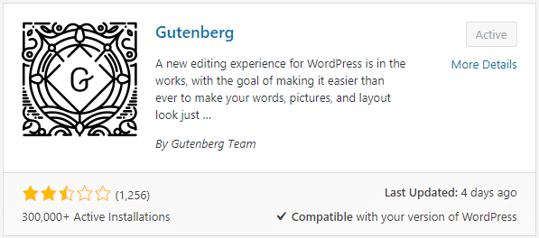 Gutenberg in the wordpress' plugin repository