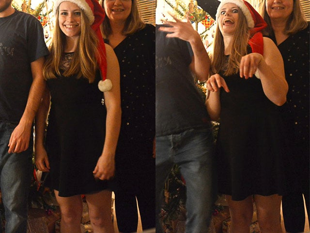 One normal, one silly Christmas picture with Anne looking like a T-Rex