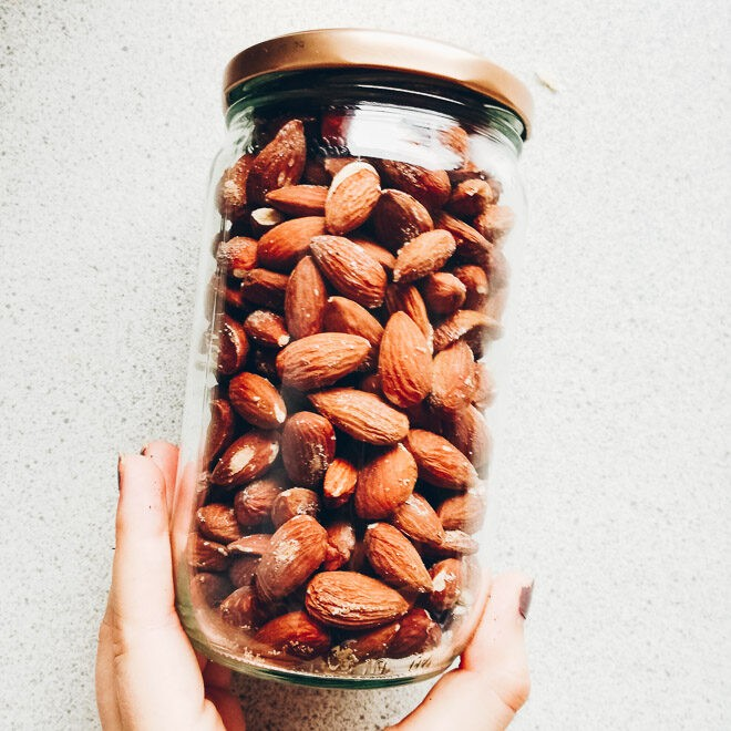 Salted almonds in a jar.