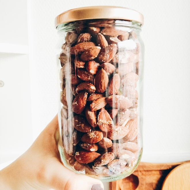 Salted almonds stored in a jar