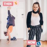 "Image of Anne doing a handstand titled ""Then"". Image of Anne standing with a neckbrace on titled ""Now""."